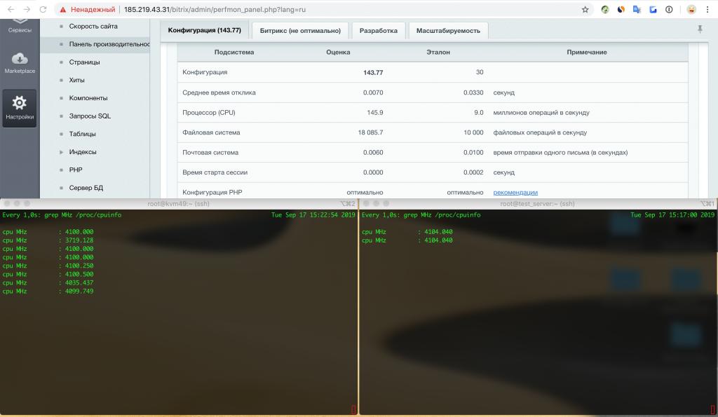 Тестирование VPS без Turbo Boost с поднятием частоты до максимальной базовой без режима экономии энергии